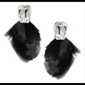 Kate Spade Feather Drop Earrings in Black.